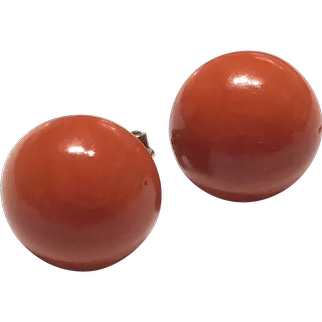 15mm!  Vintage Mediterranean Red Coral Round Cabochon Button Stud Earring