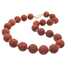 Large Matte Red Sponge Coral Round Bead Necklace