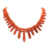 Vintage Natural Red Mediterranean Coral Necklace Picket and Berries