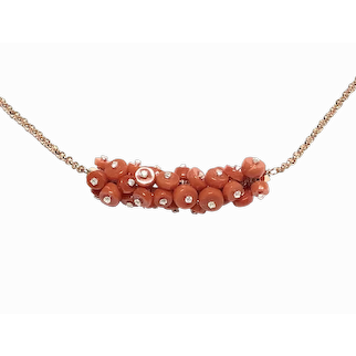 Upcycled Natural Red Mediterranean Coral Cluster Necklace