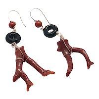 Red Mediterranean Branch Coral and Black Onyx Loop Earrings