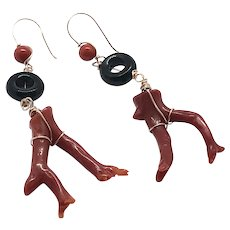 Red Mediterranean Branch Coral and Black Onyx Loop Earrings
