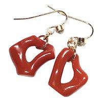 Red Mediterranean Branch Loop Coral Earring