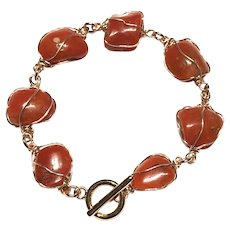 Natural red Mediterranean Coral Cabochon Hand Wrapped Bracelet