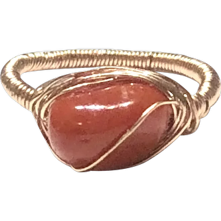 Hand Sculpted Red Mediterranean Coral Cabochon Ring
