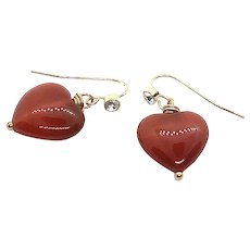 Puffed Heart Shape Carnelian Crystal Stud Ear Wires
