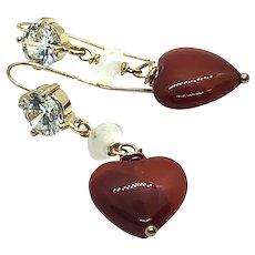 Puffed Heart Shape Carnelian Moonstone Crystal Stud Ear Wires