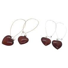 Puffed Heart Shape Carnelian Long Ear Wires