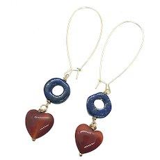 Red Heart Carnelian and Lapis Lazuli Long Earring