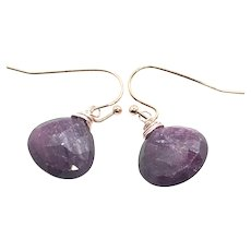 Untreated Faceted Ruby Earring GF Sterling Silver Earring