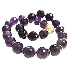 16mm!  Amethyst Round Beads Necklace