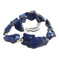 Large Chunky Lapis Lazuli Nugget Necklace