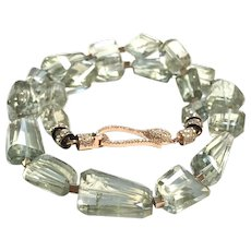 Natural Green Amethyst Faceted Chunk Necklace Rose Gold Brass