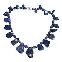 Blue Lapis Lazuli Nugget Necklace Sterling Silver Clasp
