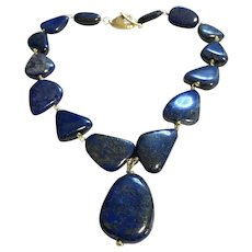 Smooth Pebble Lapis Lazuli Necklace 24K gold plated clasp