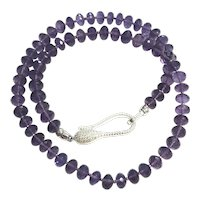 Fine Madagascar Amethyst Beads Necklace Sterling Silver
