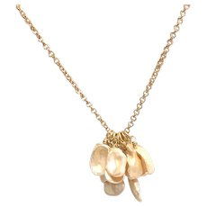 Champagne Keshi Pearl Gold Plate Necklace