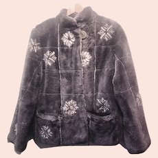 90's Lavender Sheared Beaver Fur Jacket Short Coat