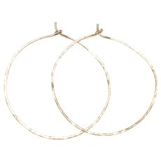 """2"""" 14K Gold Filled Hammered Thin Hoop Earring"""