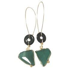Green and Black Onyx Earring Asymmetrical Shapes