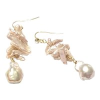 Natural Pink Freshwater Pearl Earring Metallic Sheen Baroque and Bark Shapes
