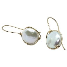 14K Gold Filled Freshwater Button Pearl Earring Round Coin shape
