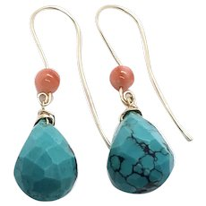 14K Gold Filled Turquoise & Coral Earring