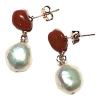 14K Gold Filled Red Italian Coral & Pearl Drop Dangling Earring