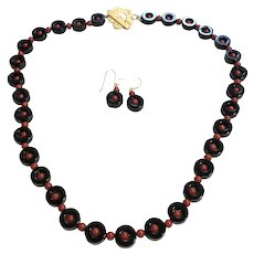 Black Onyx Loop with Red Coral Beads Necklace and Earring Set