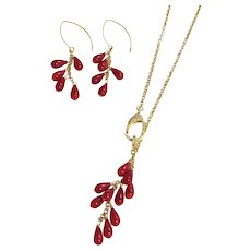 Red Sea Bamboo Dangling Drop Chain Necklace and Earring Set Gold Vermeil Ear Wires