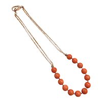 Pink Salmon Sea Bamboo Coral Necklace Rose Gold Vermeil