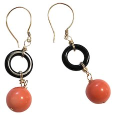 Gold Filled Black Onyx & Salmon Sea Bamboo Coral Dangling Earring Gold Vermeil Gold Filled