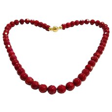 8mm Faceted Red Sea Bamboo Beads Necklace