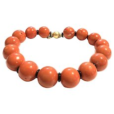 Rare 27mm Salmon Sea Bamboo Ball and Black Onyx Necklace