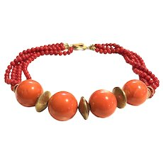 Gold Vermeil Sterling Red & Salmon Color Sea Bamboo Necklace