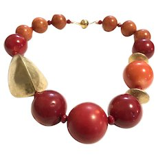 Vintage Gold Washed Sterling Silver and Red Coral Necklace