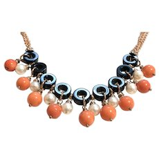 Black Onyx Pearls and Corals Necklace
