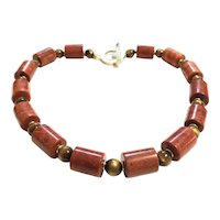 Gold and Red Coral Necklace