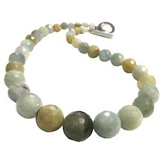 Natural Aquamarine Faceted Graduated Beads Necklace Untreated