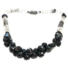 Black Spinel and Rutilated Quartz Necklace