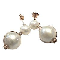 Rose Gold Filled Large Round Pearl Drop Earring