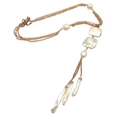 Square Pearl Long Drop Lariat Necklace Rose Gold Plate