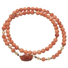 5.5mm Salmon Pink Coral Beads Necklace with Red Carved Italian Coral on Clasp