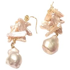 Pink Freshwater Pearl Cluster & Baroque Pearl Earring