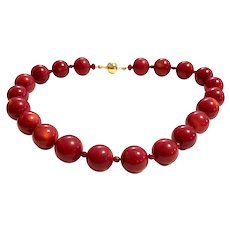 18mm Red Sea Bamboo Coral Beads Necklace
