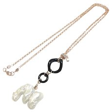 Large Free Form Freshwater Pearl and Black Onyx Chain Link Loop Necklace Chain