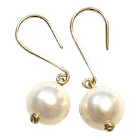 14K Yellow Gold 10mm Freshwater Cultured Pearl Earring Ear Wires