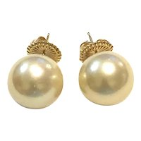 14K Gold 14mm Natural Gold South Sea Pearl Stud Earring