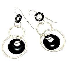 Sterling Silver & Black Onyx Loops Hoops Dangling Earring Ear Wires