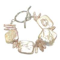 Large Square Pink Lavender Freshwater Pearl Bracelet